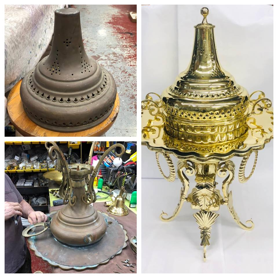 Before/after antique Turkish brazier