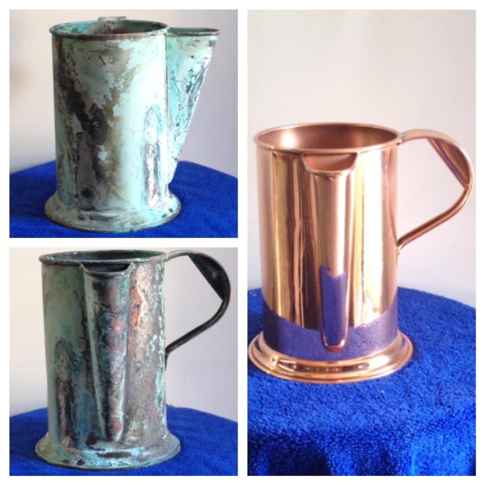before after copper watering can