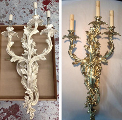 Before/after Brass wall sconces