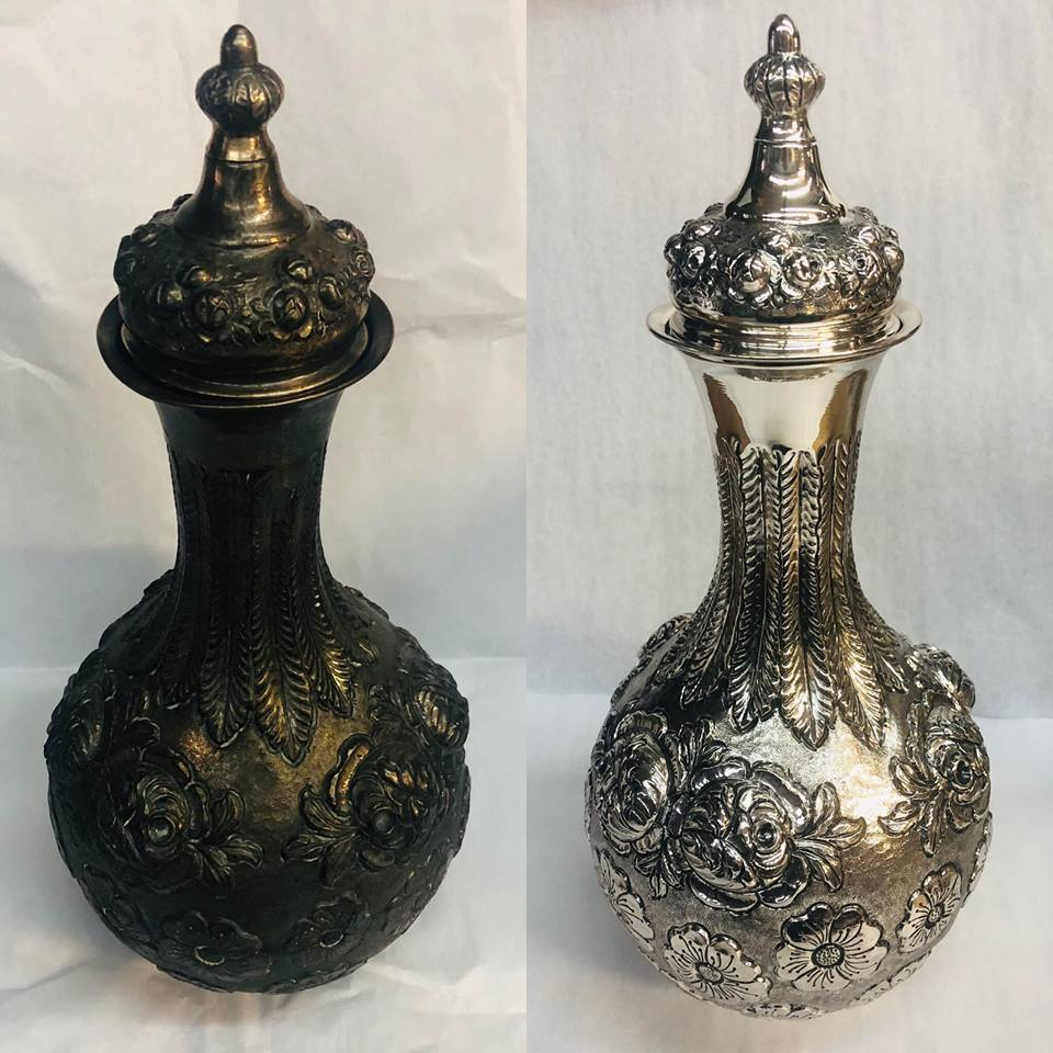 Before/after Turkish decanter