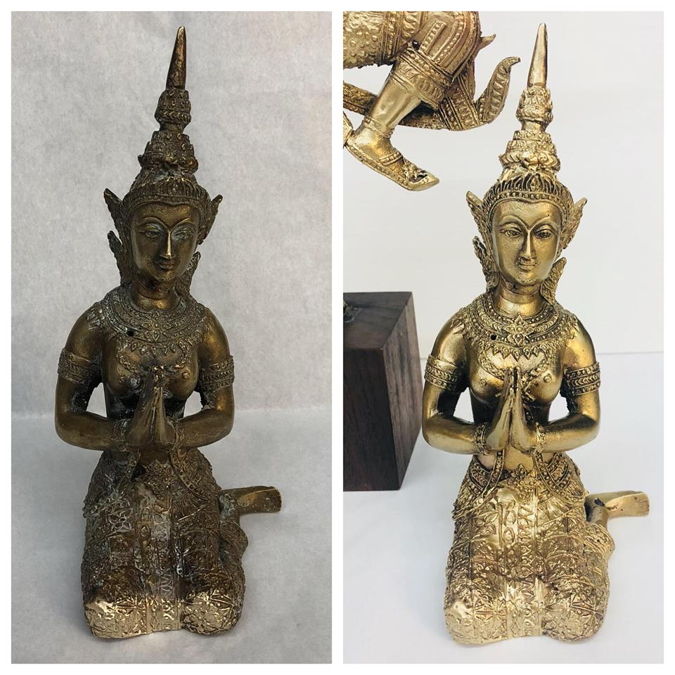 Before/after Brass buddha