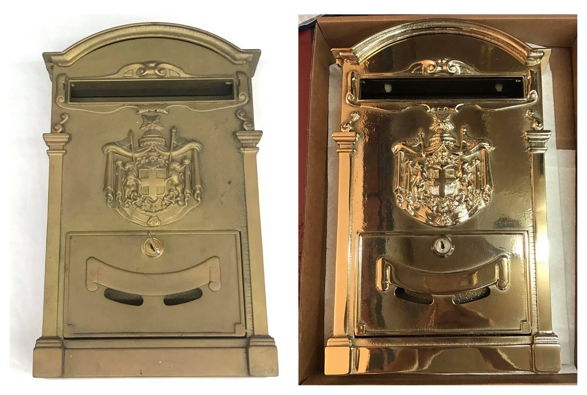 Before/after family crest mailbox