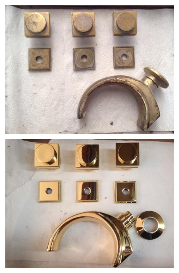 Before/after Brass plumbing set