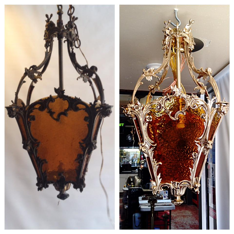 Before/after Brass light fixture