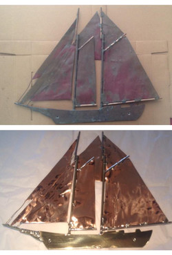 Before/after Copper & Brass sailboat