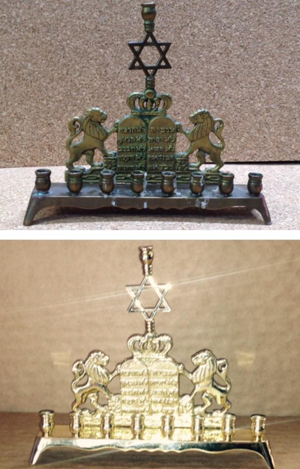Before/after Brass menorah
