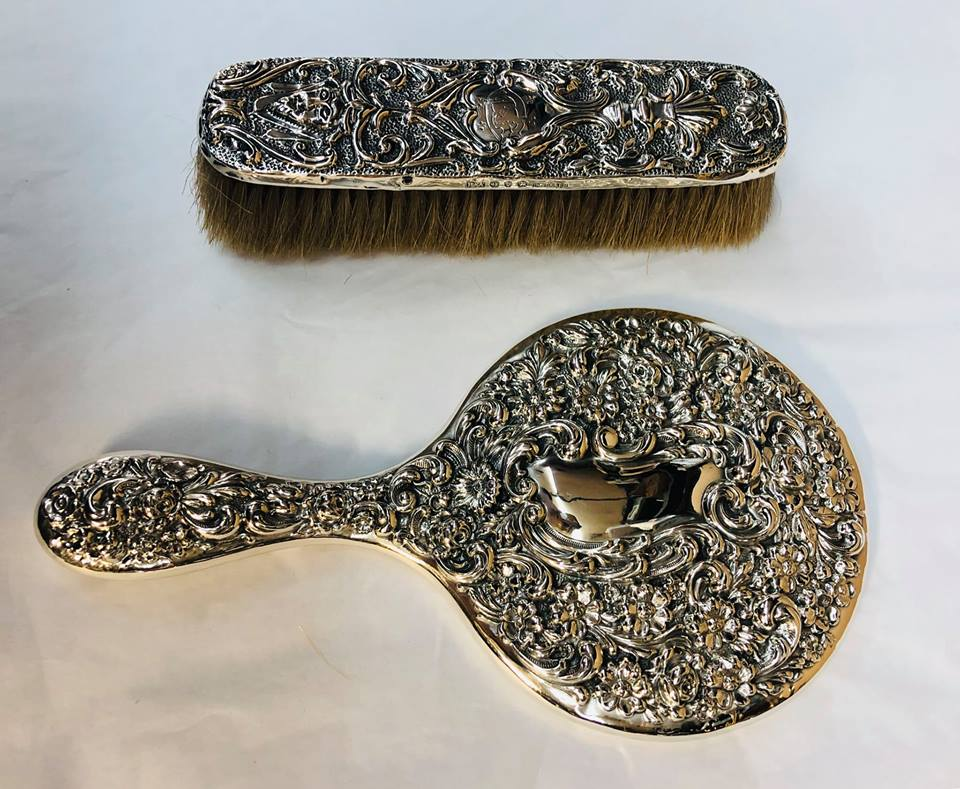 Sterling brush and mirrror set