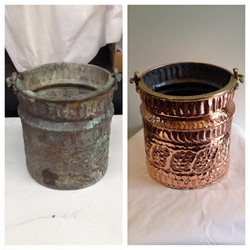 Before/after Copper bucket