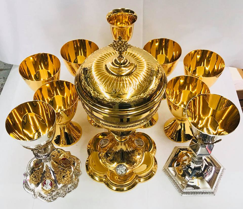 Miscellaneous chalices and ciborium