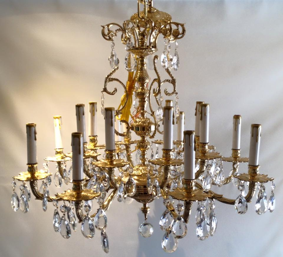 Brass 16 arm chandelier