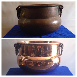 Before/after Copper pot