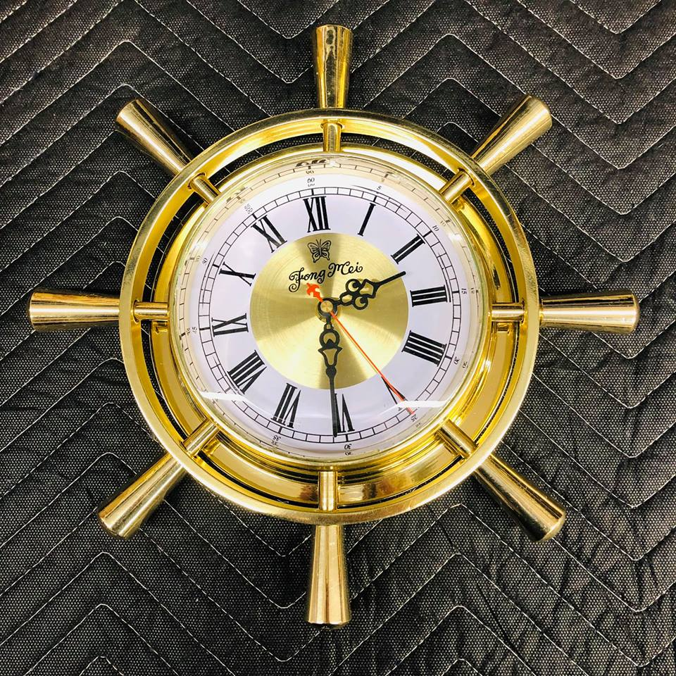 Brass ships wheel clock