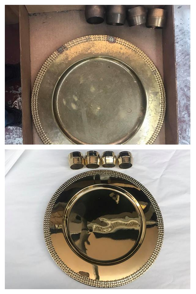 Before/after Brass charger plates
