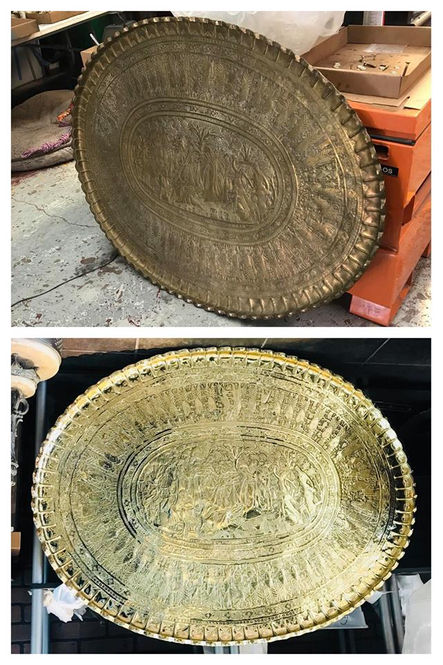 Before/after Brass oval tray