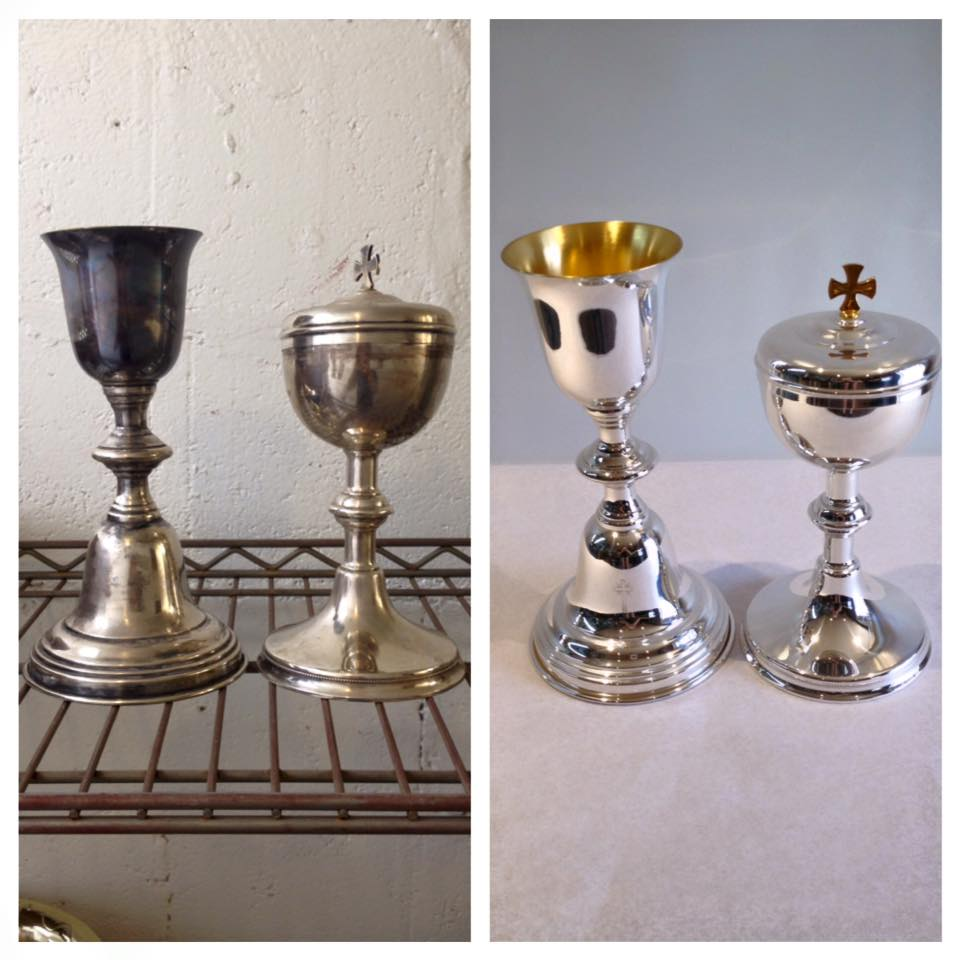 Before/after Chalice and Ciborium