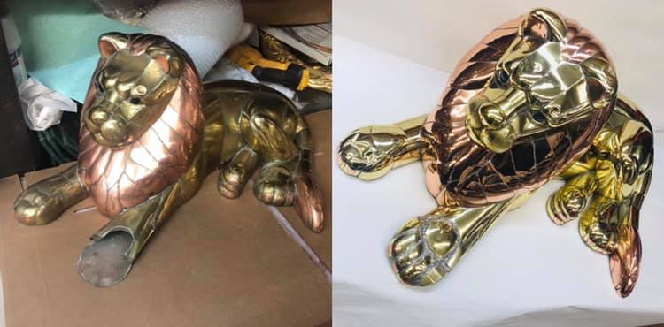 Before/after Brass and Copper lion