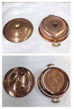 Before/after Copper pot and top