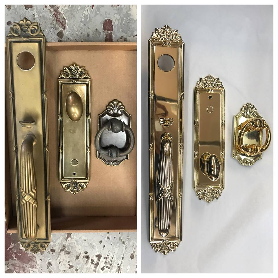 Before/after Brass door hardware
