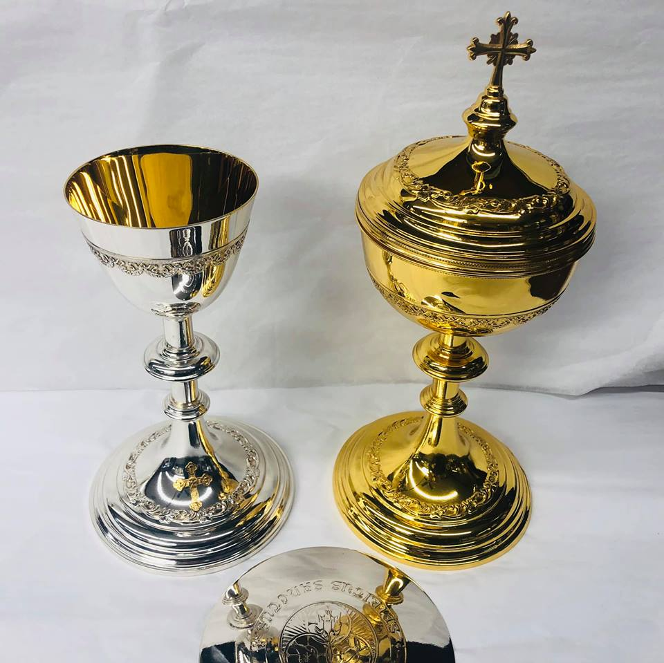 Sterling chalice ciborium patten set