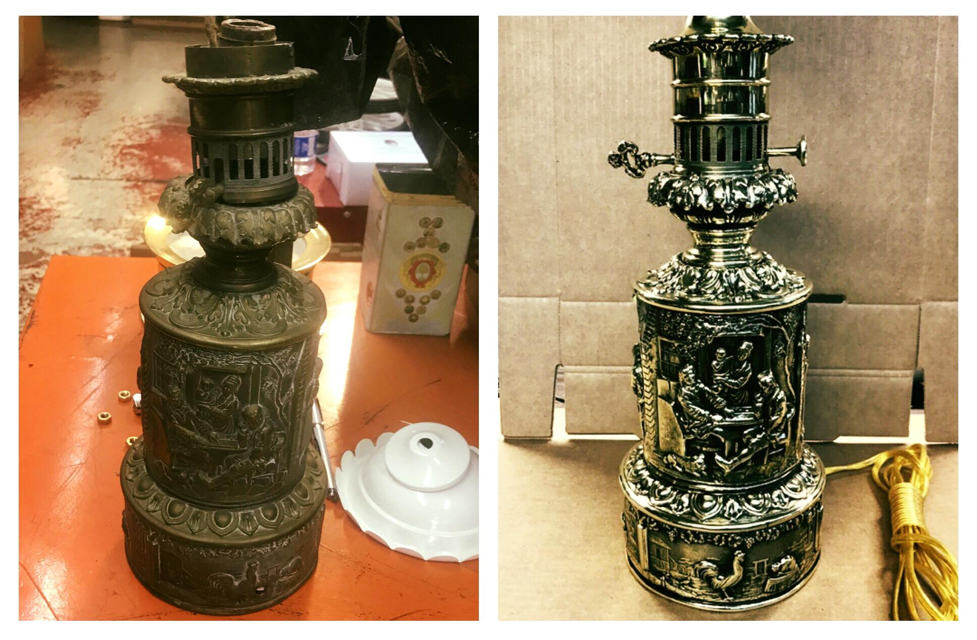 Before/after Brass oil lantern