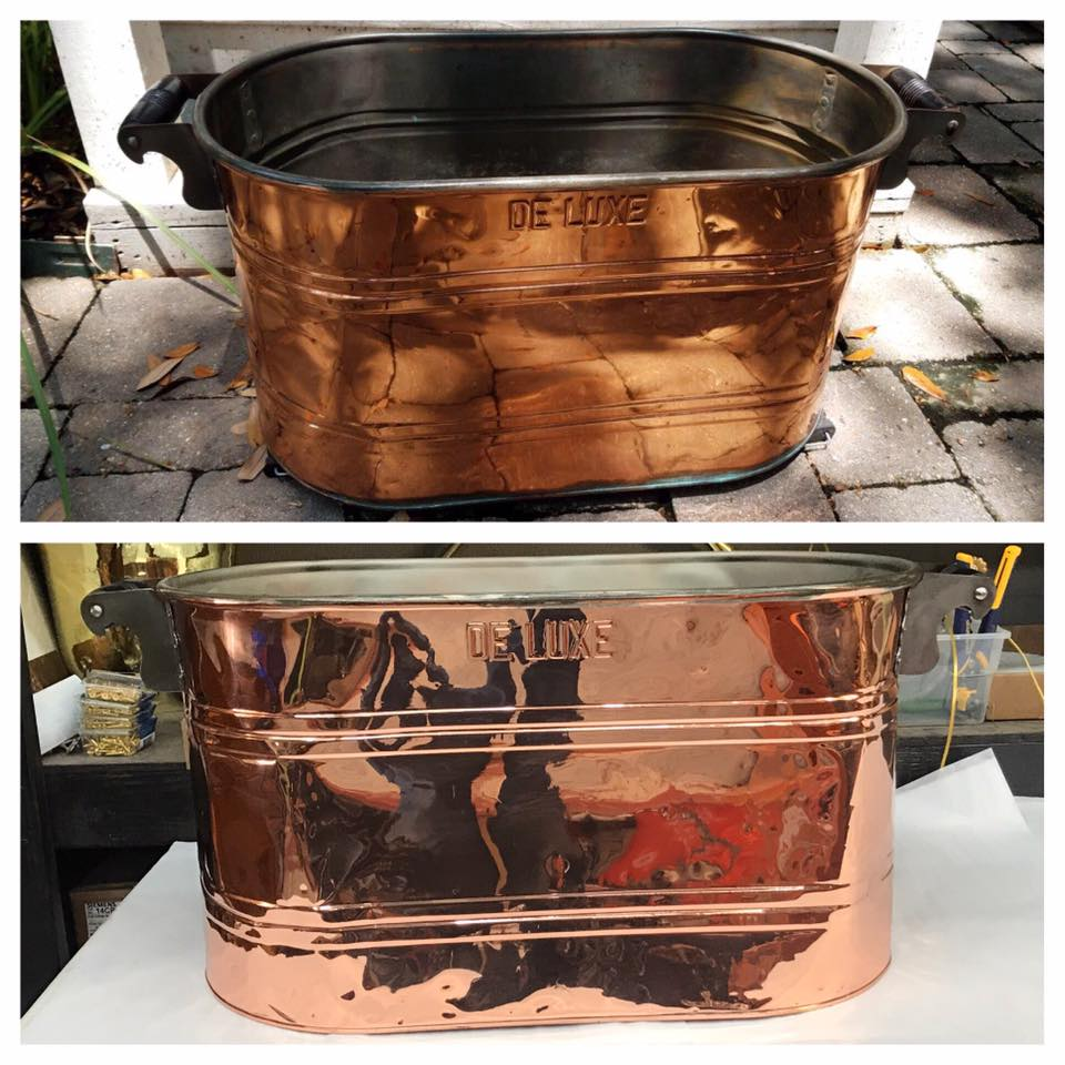 Before/after Copper washtub