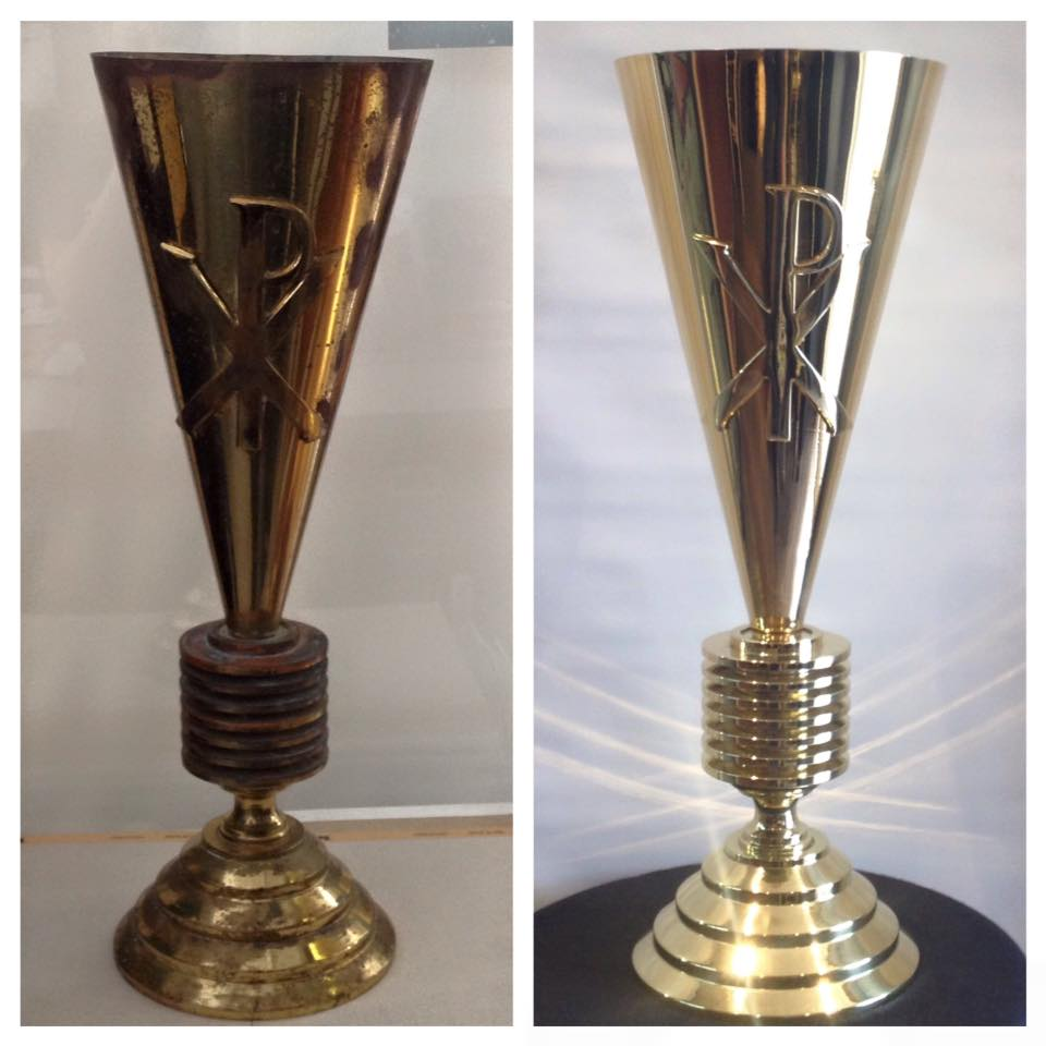 Before/after Brass church vases