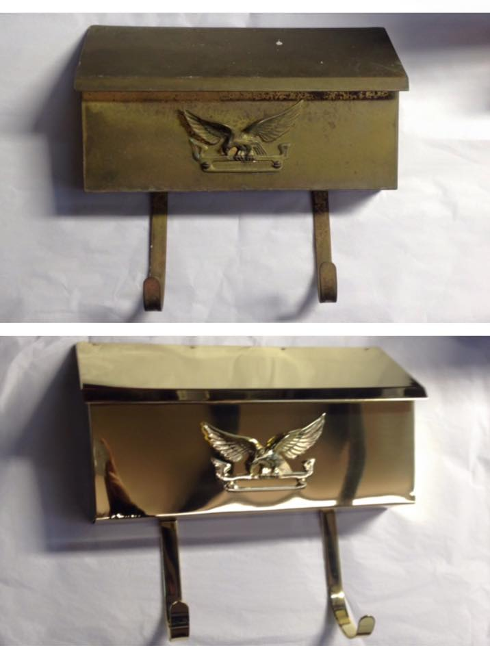 Before/after Brass mailbox