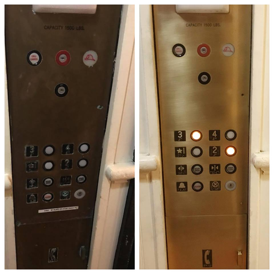 Before/after elevator panel