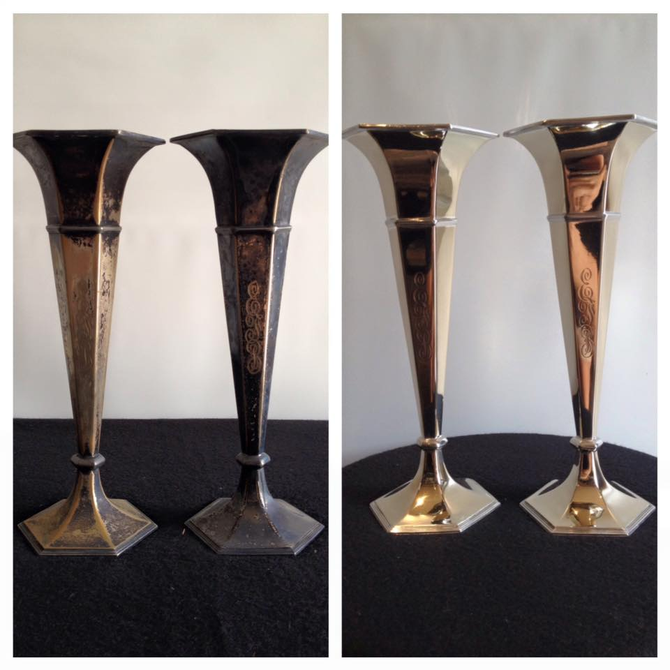Before/after Silver plated vases