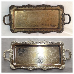 Before/after Silver plated tray