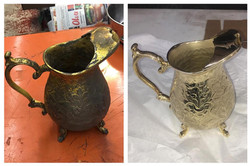 Before/after Brass water pitcher