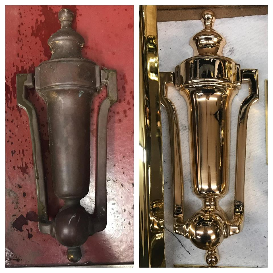 Before/after Bronze knocker