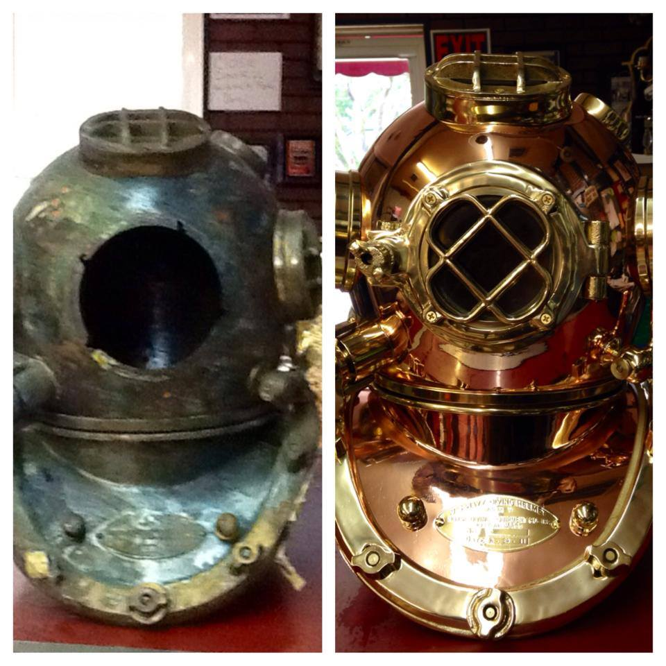 before after diving helmet
