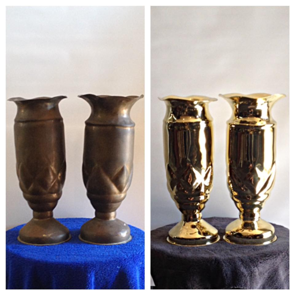 Before/after artillery shell vases