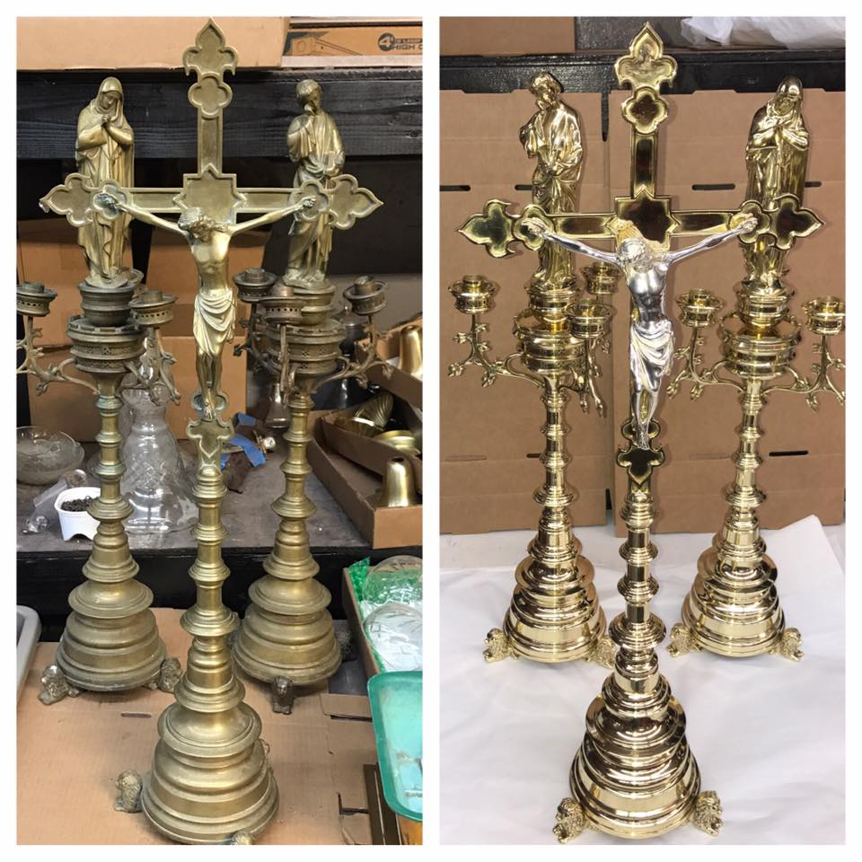 Before/after Brass church items
