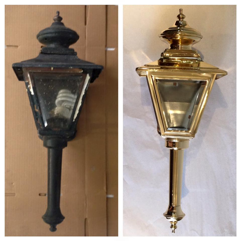 Before/after Brass outside lantern