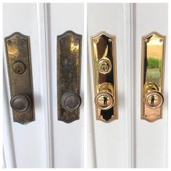 Before/after Brass door hardware
