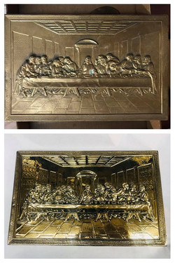 Before/after last supper plaque