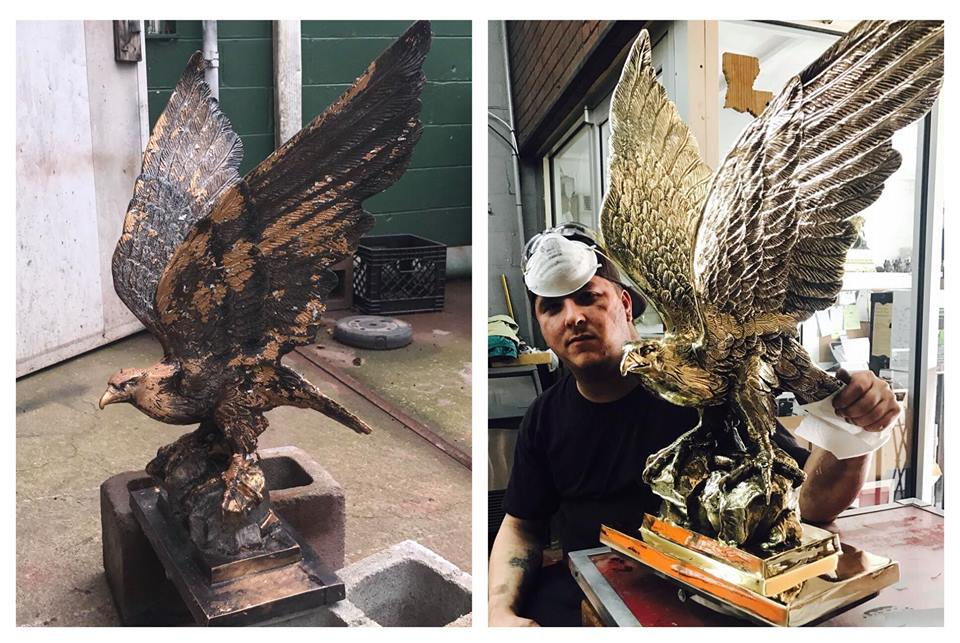 Before/after Brass eagle