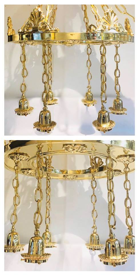 Brass pan light fixture