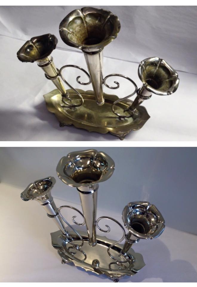 Before/after Silver plated vase