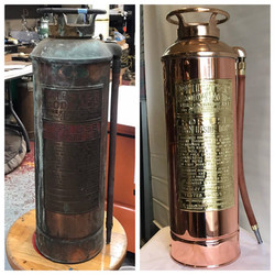 Before/after antique fire extinguish