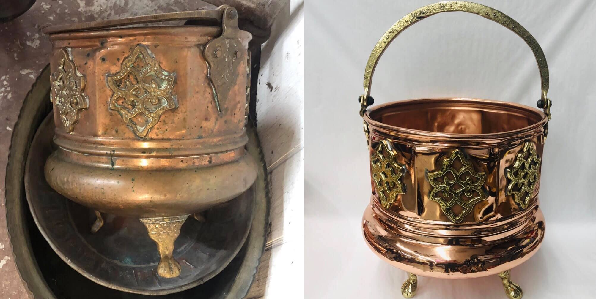 Before/after Copper and Brass bucket