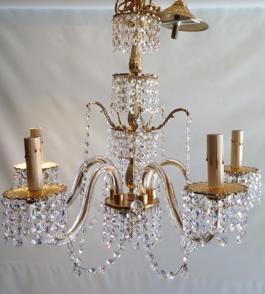 Brass/glass chandelier