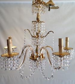 Brass/glass chandelier