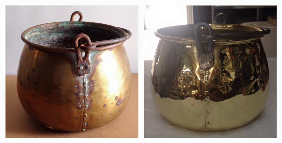 Before/after Brass bucket
