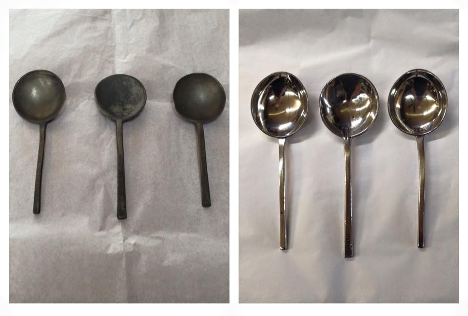 Before/after antique Pewter spoons