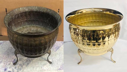 Before/after Brass planter