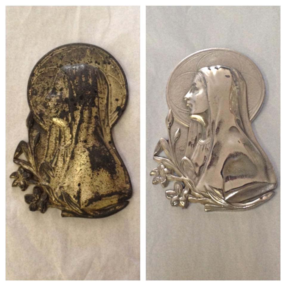 Before/after Mary plaque