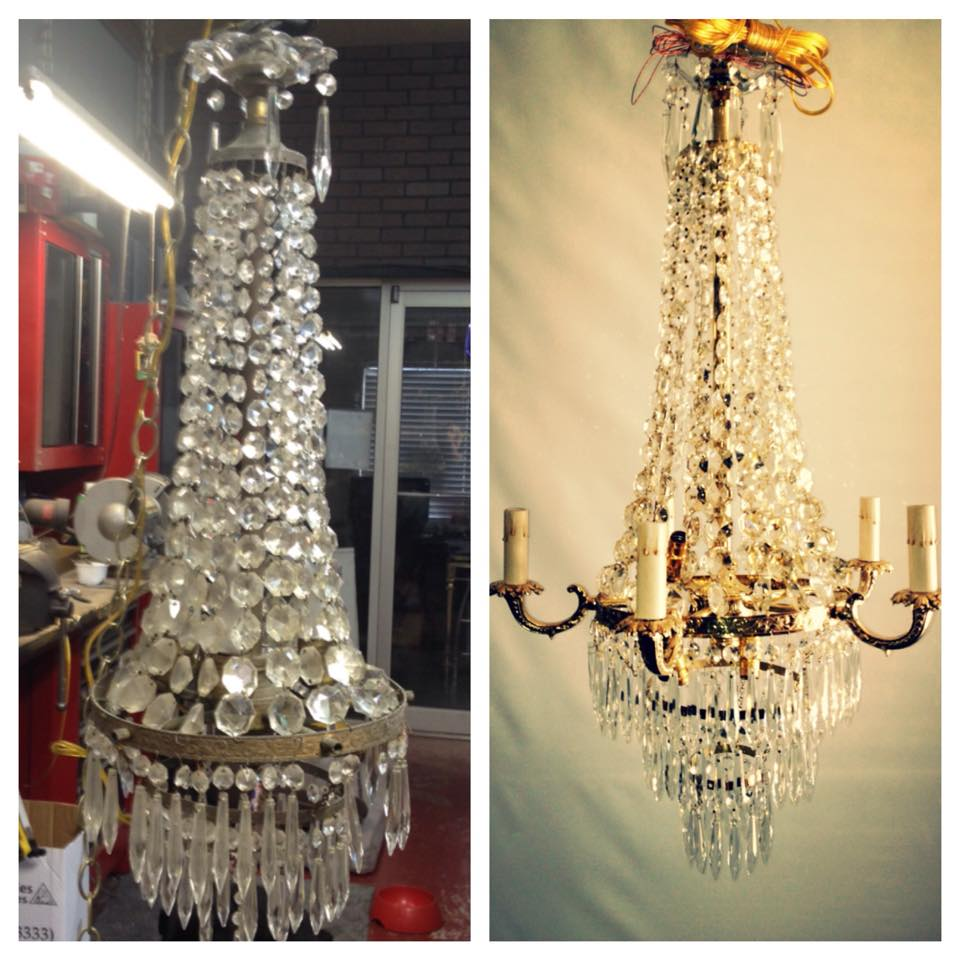 before after brass chandelier